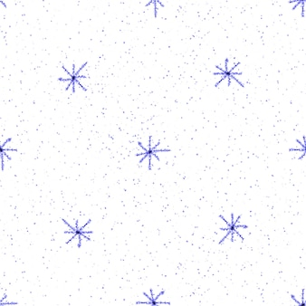 Ручной обращается снежинки рождество бесшовные модели. тонкие летающие хлопья снега на фоне снежинок мела. живой мел, нарисованный вручную снегом. эмоциональное украшение курортного сезона.