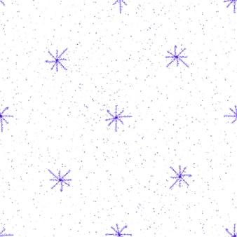 Ручной обращается снежинки рождество бесшовные модели. тонкие летающие хлопья снега на фоне снежинок мела. живой мел, нарисованный вручную снегом. свежее украшение курортного сезона.