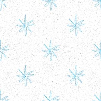Ручной обращается снежинки рождество бесшовные модели. тонкие летающие хлопья снега на фоне снежинок мела. живой мел, нарисованный вручную снегом. ценное украшение праздничного сезона.