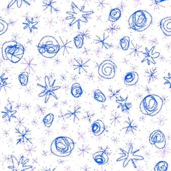 Ручной обращается снежинки рождество бесшовные модели. тонкие летящие хлопья снега на фоне снежинок мела. очаровательный снег, нарисованный от руки мелом. симпатичные украшения курортного сезона.