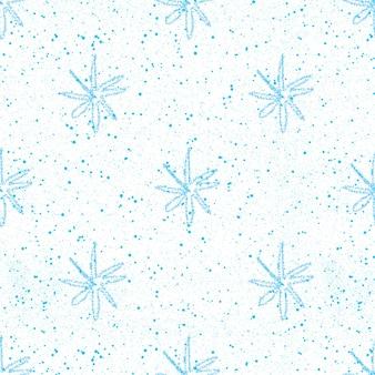 Ручной обращается снежинки рождество бесшовные модели. тонкие летящие хлопья снега на фоне снежинок мела. очаровательный снег, нарисованный от руки мелом. приятное украшение курортного сезона.