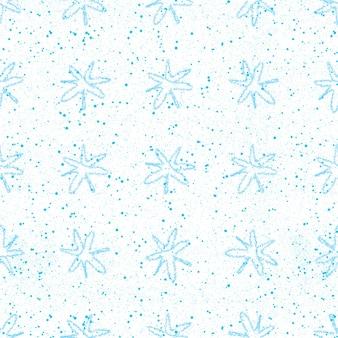 Ручной обращается снежинки рождество бесшовные модели. тонкие летающие хлопья снега на фоне снежинок мела. очаровательный снег, нарисованный от руки мелом. популярное украшение курортного сезона.