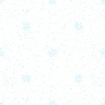 Ручной обращается снежинки рождество бесшовные модели. тонкие летающие хлопья снега на фоне снежинок мела. очаровательный снег, нарисованный от руки мелом. симметричное оформление курортного сезона.