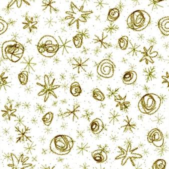 Ручной обращается снежинки рождество бесшовные модели. тонкие летающие хлопья снега на фоне снежинок мела. изумительный снег, нарисованный от руки мелом. безупречное украшение курортного сезона.