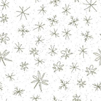 Ручной обращается снежинки рождество бесшовные модели. тонкие летящие хлопья снега на фоне снежинок мела. изумительный снег, нарисованный от руки мелом. стильное украшение курортного сезона.