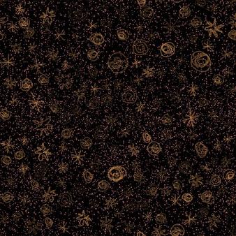 Ручной обращается снежинки рождество бесшовные модели. тонкие летающие хлопья снега на фоне снежинок мела. симпатичный рисунок снега, нарисованный от руки мелом. очаровательное украшение курортного сезона.