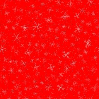 Ручной обращается снежинки рождество бесшовные модели. тонкие летающие хлопья снега на фоне снежинок мела. красивый снег, нарисованный вручную мелом. впечатляющее украшение праздничного сезона.