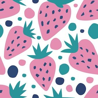 白地に手描きのイチゴとドットのシームレスなパターン。夏のフルーツイチゴの壁紙。ベクトルイラスト