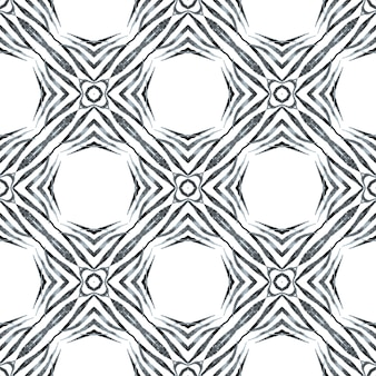 Hand drawn tropical seamless border. black and white superb boho chic summer design. textile ready wondrous print, swimwear fabric, wallpaper, wrapping. tropical seamless pattern.