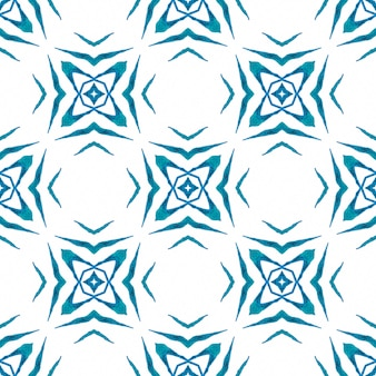 手描きの熱帯のシームレスな境界線。ブルーの素晴らしい自由奔放に生きるシックな夏のデザイン。トロピカルなシームレスパターン。