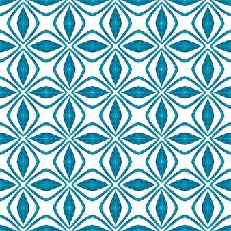 手描きの熱帯のシームレスな境界線。ブルーの信じられないほど自由奔放に生きるシックな夏のデザイン。トロピカルなシームレスパターン。