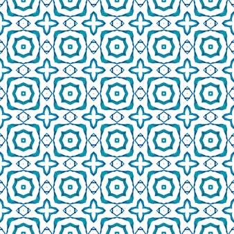 手描きの熱帯のシームレスな境界線。ブルーオリジナルの自由奔放に生きるシックな夏のデザイン。テキスタイルレディの素晴らしいプリント、水着生地、壁紙、ラッピング。トロピカルなシームレスパターン。