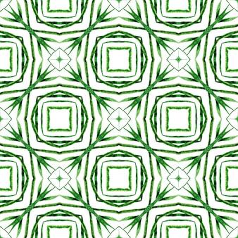 手描きの熱帯のシームレスな境界線。緑に輝く自由奔放に生きるシックな夏のデザイン。トロピカルなシームレスパターン。テキスタイルレディの魅力的なプリント、水着生地、壁紙、ラッピング。