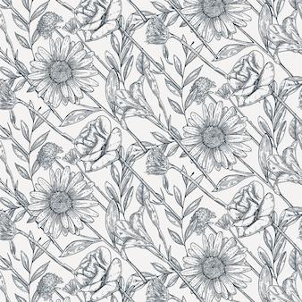 手描きのヴィンテージ植物パターン