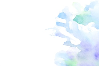 Hand drawn water color splash on white backdrop