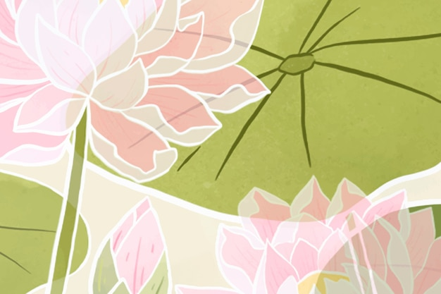 手描きの睡蓮の花の背景