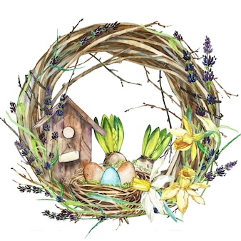 Hand drawn watercolor art wreath with spring flowers and eggs.