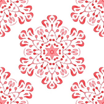 Hand drawn watercolor artistic snowflake red ornamental damask. can be used as a christmas card or background, fabric and ceramic tiles, tableware