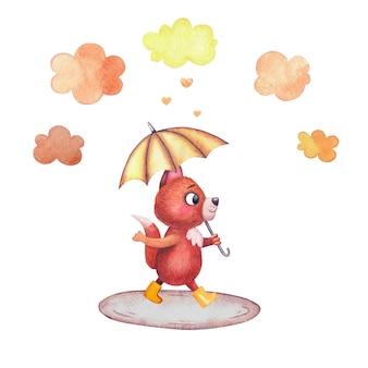 手描きの水彩画の幼稚なイラスト。黄色いゴム長靴のかわいいキツネのキャラクターは、雲の傘の下を歩きます。