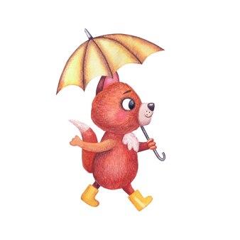 手描きの水彩画の幼稚なイラスト。黄色いゴム長靴のかわいいキツネのキャラクターが傘の下を歩きます。