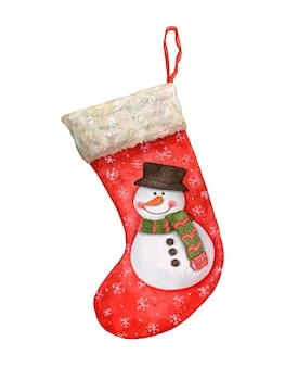 Hand drawn watercolor christmas stocking on white background.