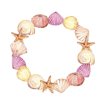 Hand drawn watercolor circle seaframe with seashells, starfish and sea urchin