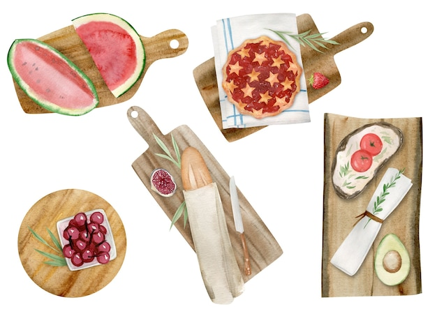 Hand drawn watercolor clipart set of summer picnic elements isolated on white background.