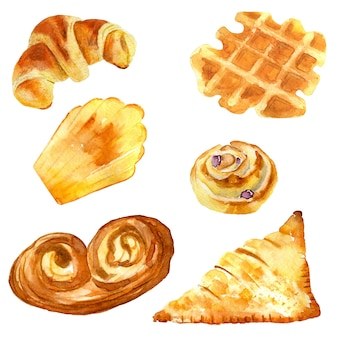 Hand drawn watercolor collection of french pastries.