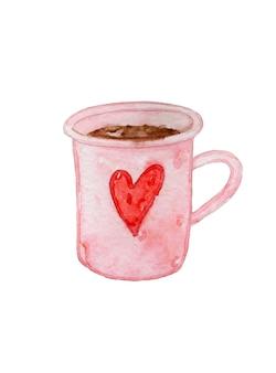 코코아와 손으로 그린 수채화 컵. 발렌타인 데이.