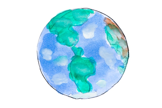 Hand drawn watercolor earth globe on white background