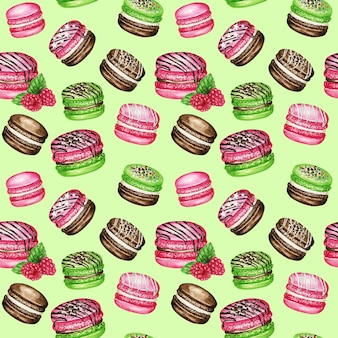 Hand drawn watercolor french macaron cakes seamless pattern. chocolate, vanilla, fruit pastry dessert on green background colorful macaroon biscuits, green mint pink raspberry sweet fabric texture.