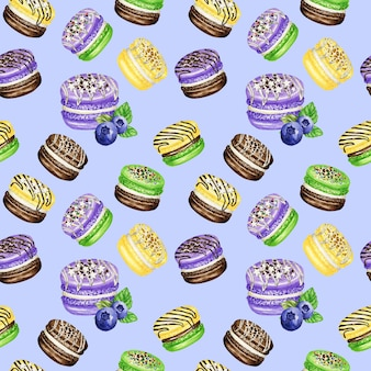 Hand drawn watercolor french macaron cakes seamless pattern. chocolate, vanilla, fruit pastry dessert on violet background colorful macaroon biscuits, blueberry mint banana sweet fabric texture.