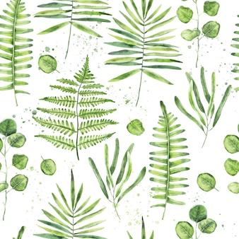 손으로 그린 수채화 녹색 나뭇잎과 가지 원활한 패턴