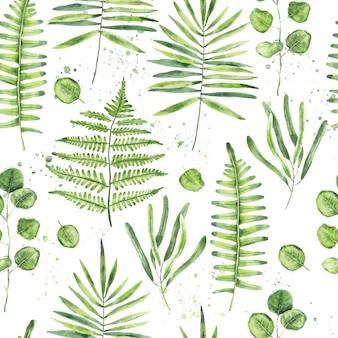 Hand drawn watercolor green leaves and branches seamless pattern