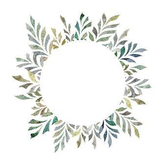 Ручной обращается акварель иллюстрации, изолированные на белом фоне листья круг кадр венок