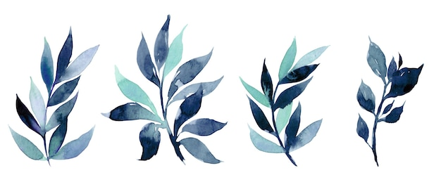 手には、抽象的な青い枝の水彩イラストが描かれました。招待状、映画のポスター、生地、その他のオブジェクトのデザインの要素