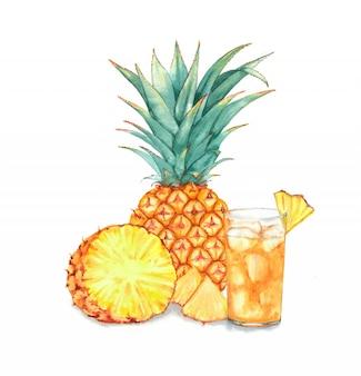 パイナップルと新鮮なアイスジュースの手描き水彩イラスト