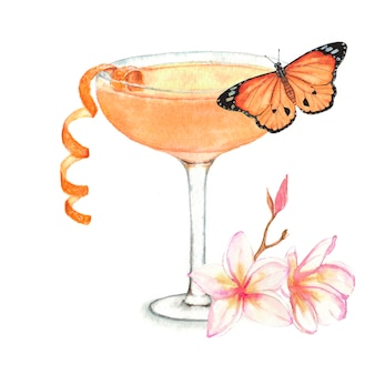 Hand drawn watercolor illustration of summer fresh cocktail with butterfly and floral decoration.