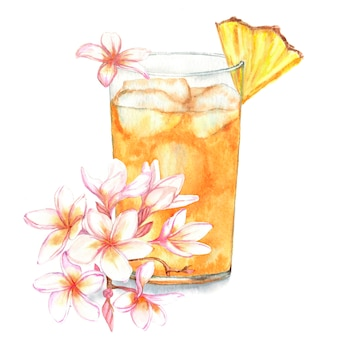 Hand drawn watercolor illustration of summer fresh cocktail with pineapple and floral decoration.
