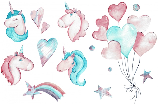 Hand drawn watercolor illustrations of vibrant magical creatures, unicorns. collection of drawings for children, fairy tale isolated clipart.