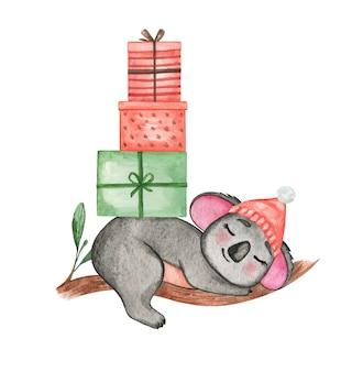 Нарисованная рукой иллюстрация акварели коала, набор с рождеством, милые животные в новогодней шапке, плакат