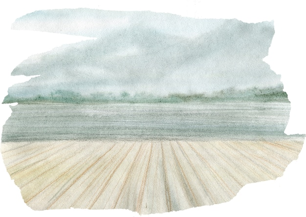 Ручной обращается акварельный пейзаж с озером в лесу