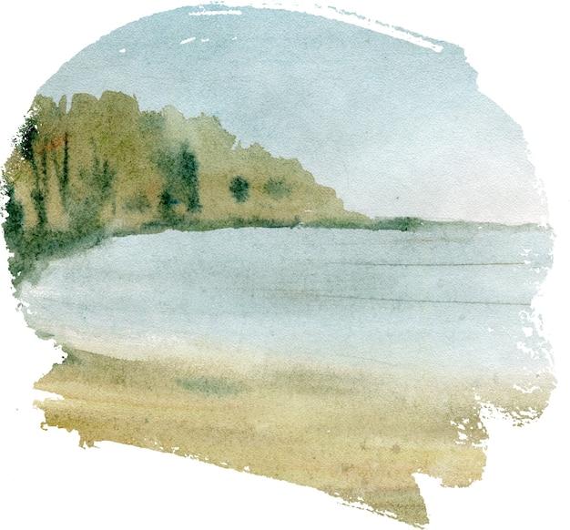Ручной обращается акварель пейзаж с озером в лесу.