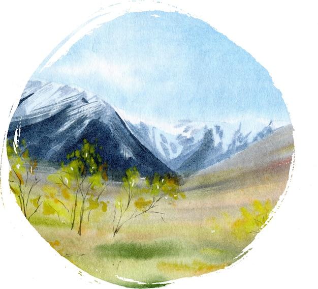Ручной обращается акварельный пейзаж с горами
