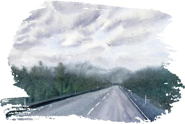 Ручной обращается акварель пейзаж с дорогой, небом и лесом.