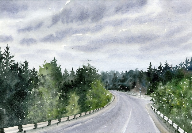 Ручной обращается акварельный пейзаж с дорогой, небом и лесом