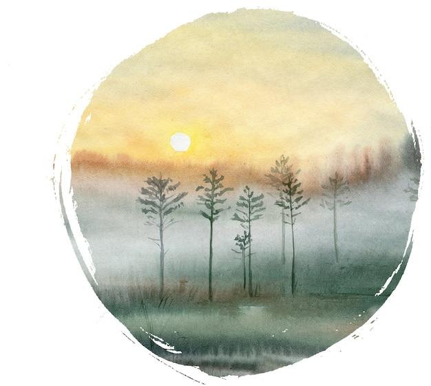 손으로 그린 숲에서 여름 수채화 풍경.