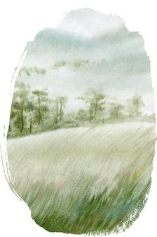 Ручной обращается акварель пейзаж с летом в лесу.