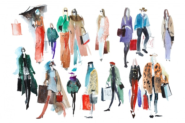 Hand drawn watercolor people with shopping bags set