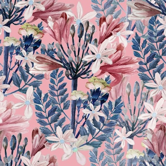 Hand drawn watercolor pink flowers and blue leaves on pink background, vintage repeat seamless botanical pattern background